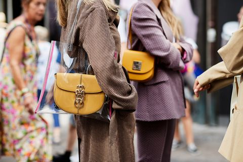 Street fashion, Yellow, Fashion, Clothing, Snapshot, Shoulder, Footwear, Bag, Street, Fashion accessory,