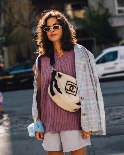 哥本哈根時裝週街拍潮人針織背心寬鬆短褲穿搭