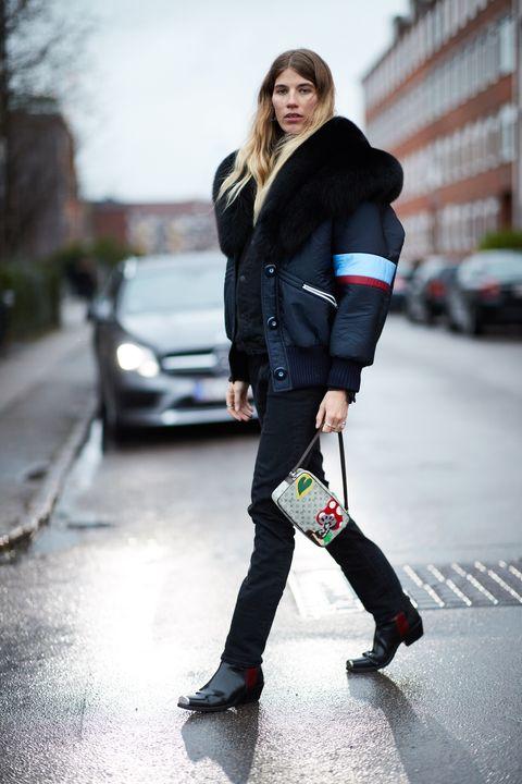 White, Street fashion, Clothing, Black, Footwear, Fashion, Snapshot, Knee, Jeans, Jacket,