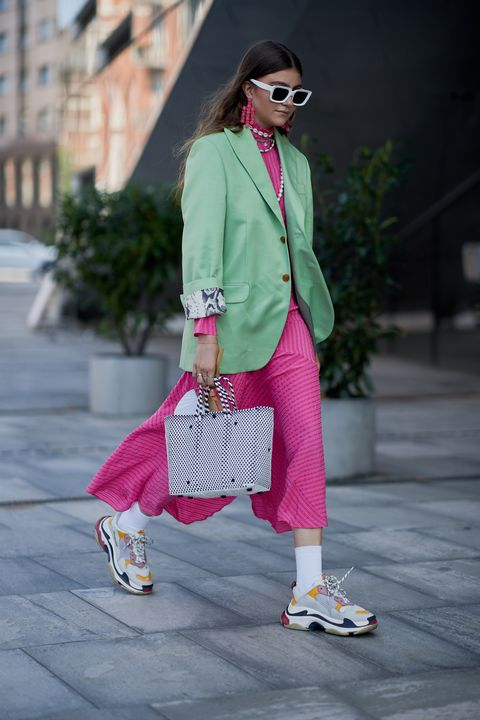 Clothing, Pink, Street fashion, White, Fashion, Footwear, Blazer, Outerwear, Shoe, Magenta,