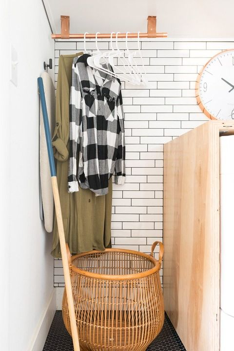 copper hanging rack laundry room ideas