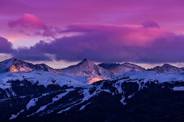 copper mountain and tenmile range mountain view winter sunset