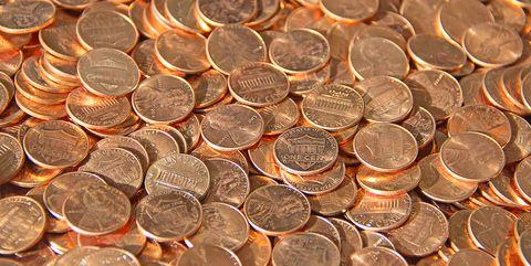 pile of copper U.S. pennies