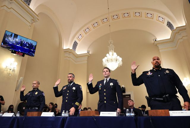 l r us capitol police officer sgt aquilino gonell, dc metropolitan police department officer michael fanone, dc metropolitan police department officer daniel hodges and us capitol police officer harry dunn are sworn in before testifying, before members of the select committee as they investigate the january 6, 2021 attack on the us capitol, during their first hearing in the cannon house office building on capitol hill in washington, dc, on july 27, 2021   the committee will hear testimony from members of the us capitol police and the metropolitan police department who tried to protect the capitol against insurrectionists on january 6, 2021 photo by chip somodevilla  pool  afp photo by chip somodevillapoolafp via getty images