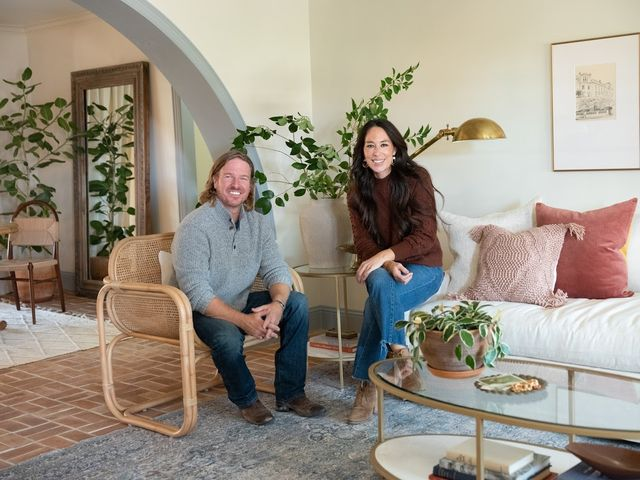 portrait of chip and joanna gaines at deibel reveal, as seen on fixer upper, season 6