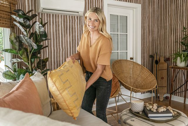 as seen on hgtv's help i wrecked my house, host jasmine roth puts the finishing touches in the cates family's new sun room dressing sun room