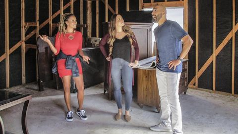 host breegan jane left shows the couple right an unfinished storage space they could use for hanging with friends as seen on the house my wedding bought