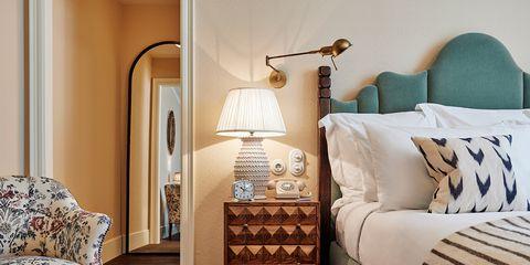 Furniture, Room, Bedroom, Interior design, Bed, Floor, Property, Bedding, Nightstand, Lighting,