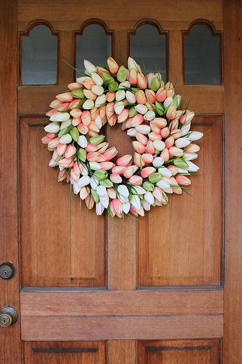 the wreath depot coral tulip wreath