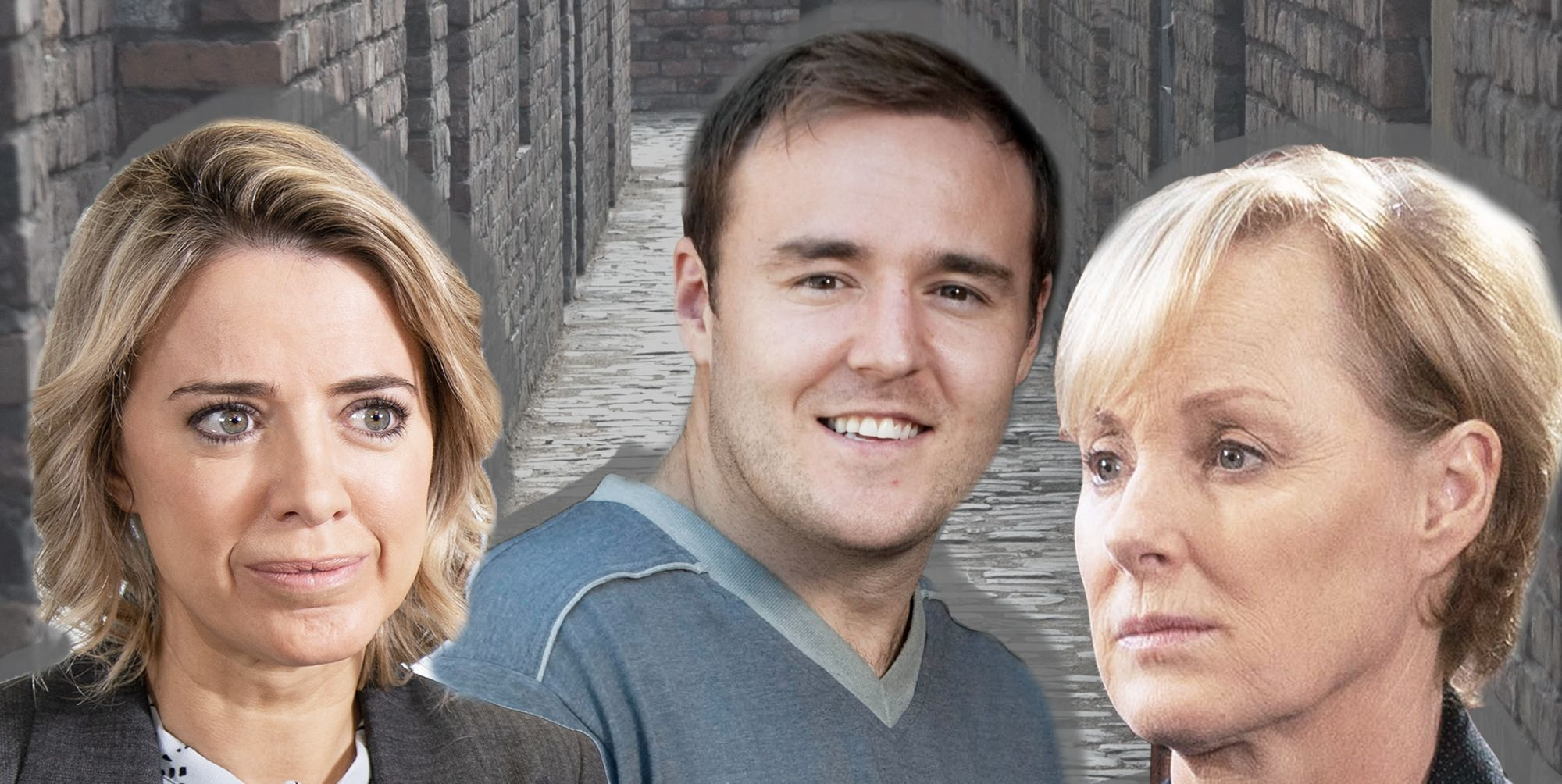 Coronation Street Sally Metcalfe, Tyrone Dobbs and Abi Franklin the possible victims in the Underworld roof collapse tragedy