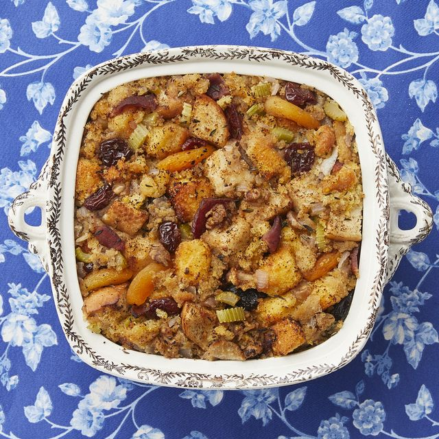 cornbread dressing with dried fruits and nuts