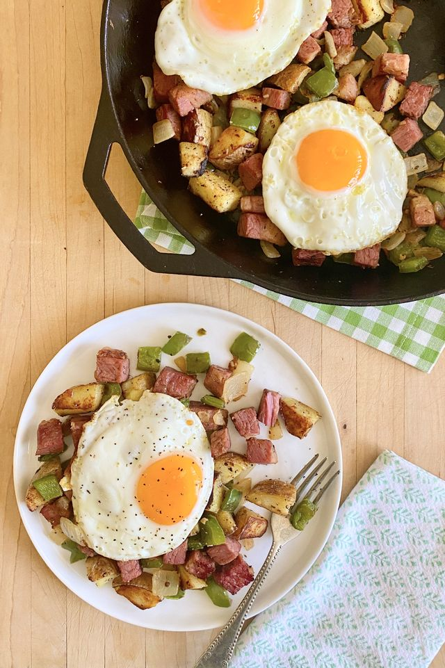 corned beef hash on a plate