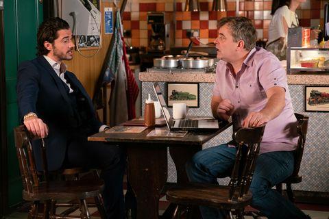 Adam Barlow speaks to Steve McDonald in Coronation Street