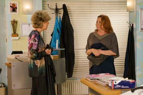 cathy matthews' haircut with audrey roberts goes wrong in coronation street