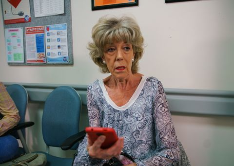 Audrey Roberts sees something surprising on Emma Brooker's phone in Coronation Street