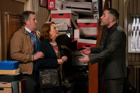 Brian Packham and Cathy Matthews confront Rick Neelan in Coronation Street