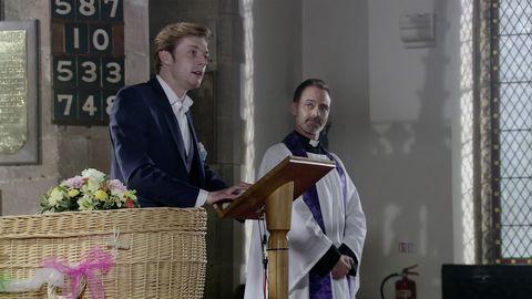 Daniel Osbourne at Sinead's funeral in Coronation Street