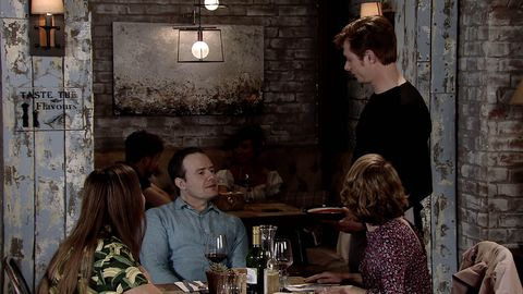 Daniel Osbourne does a shift at the Bistro in Coronation Street