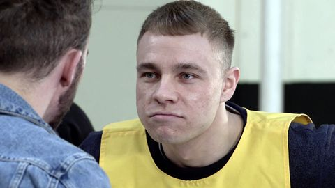 Clayton Hibbs is confronted by David Platt in Coronation Street