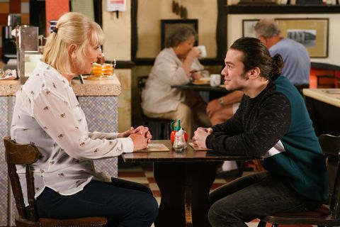 Eileen Grimshaw and Seb Franklin at the cafe in Coronation Street