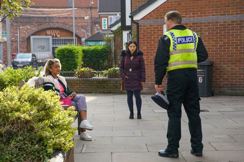 emma brooker and alina pop with the police in coronation street