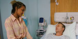 Emma Brooker visits her father in hospital in Coronation Street