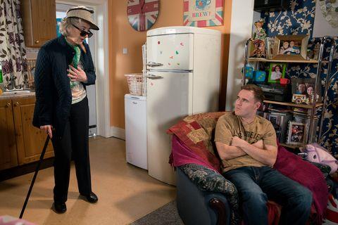 Tyrone Dobbs is annoyed as Evelyn Plummer returns in Coronation Street