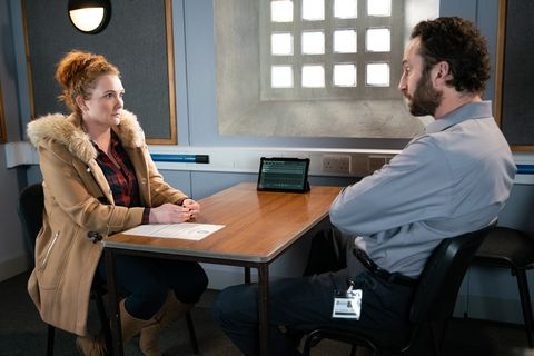 Fiz Stape with the police in Coronation Street