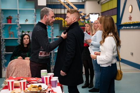 Gary Windass makes an announcement at the factory in Coronation Street