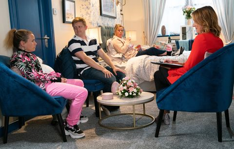 Gemma Winter and Chesney Brown in their hotel room in Coronation Street
