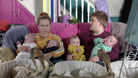 Gemma Winter, Chesney Brown and the quads in Coronation Street