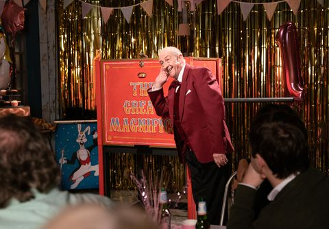 Geoff Metcalfe puts on a magic show in Coronation Street