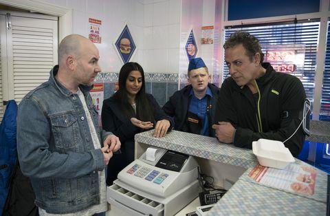 Dev Alahan gets a nasty surprise at the kebab shop in Coronation Street