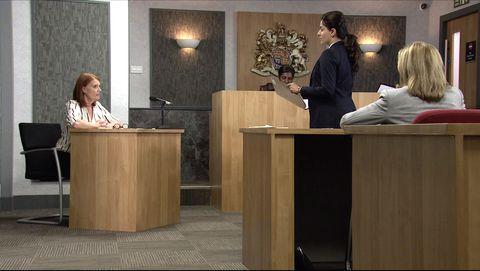 leanne battersby watches proceedings unfold in court in coronation street