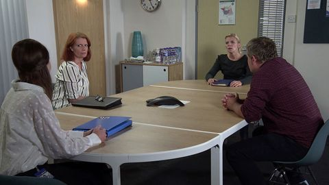 leanne battersby and steve mcdonald have a meeting to discuss oliver in coronation street