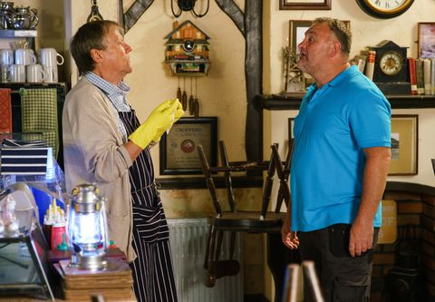 Roy Cropper is confronted by Larry in Coronation Street