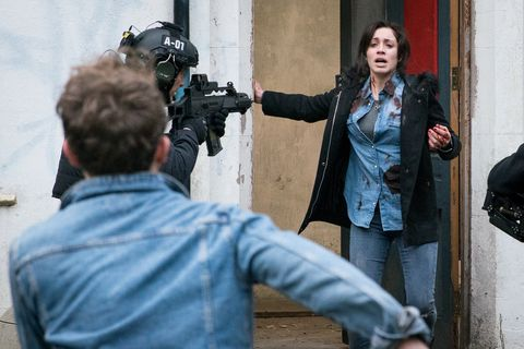 Shona Ramsey is covered in blood after the hostage drama in Coronation Street