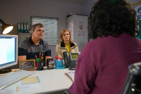 steve mcdonald and leanne battersby visit the doctor in coronation street