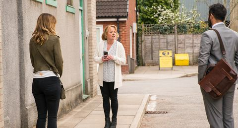 toyah battersby, jenny connor and imran habeeb in coronation street