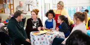 Fiz and Tyrone with Jade and the girls in Coronation Street