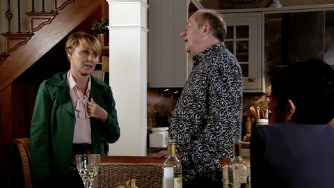 Sally Metcalfe visits Geoff Metcalfe and Yasmeen Nazir in Coronation Street