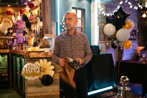 Kevin Webster at New Year in Coronation Street