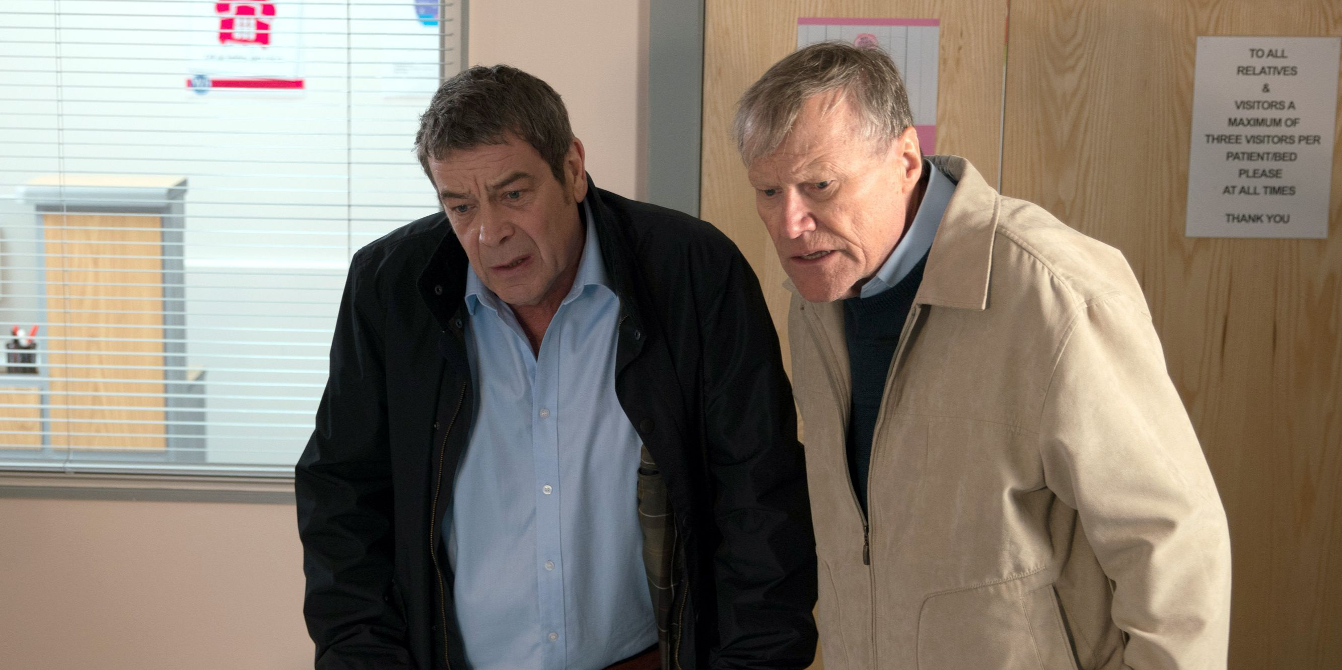 Johnny Connor and Roy Cropper visit Carla in Coronation Street