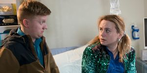Chesney Brown and Gemma Winter at the hospital in Coronation Street