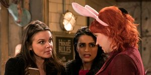 Kate Connor and Rana Habeeb with Lolly in Coronation Street