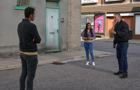 corey, asha alahan and dev alahan in coronation street