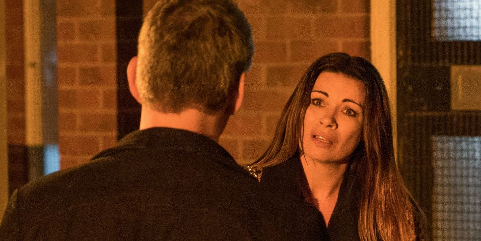 Robert Preston threatens Carla Connor in Coronation Street