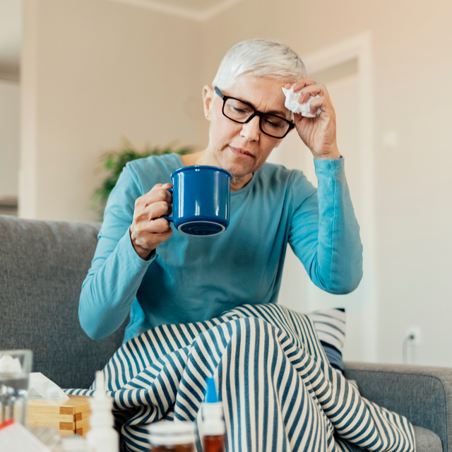 older woman with fever