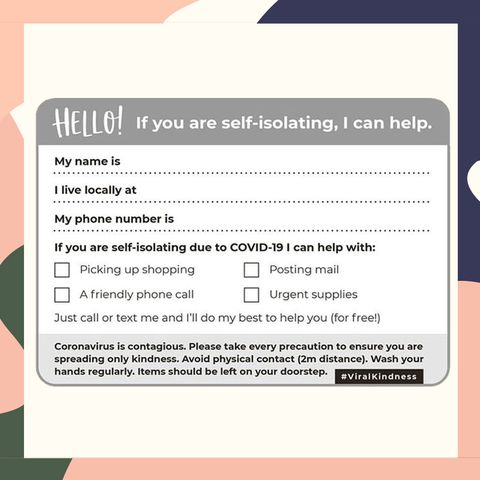 Coronavirus self-isolating printable postcard