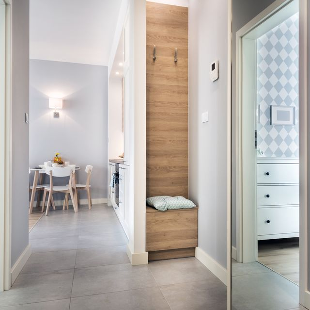 hallway with tiled floor in modern apartment